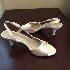 Lulu Townsend Ivory Satin Dressy Sandals